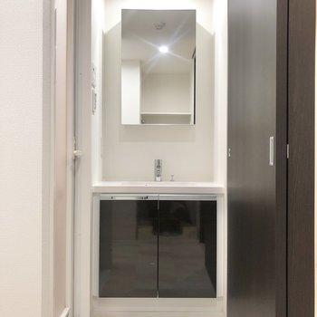 サニタリールームもシックなデザイン。※写真は2階の反転間取り別部屋のものです