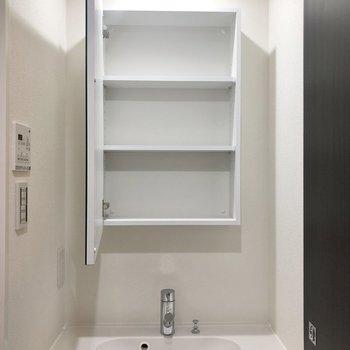 鏡裏には歯ブラシも収納できます。