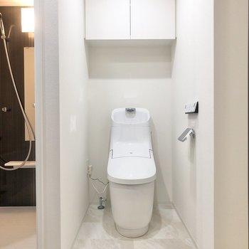 トイレが同室です。お掃除はまとめてできますね。