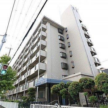大通り沿いに立つ重厚感あるマンション。