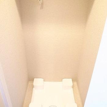 洗面脱衣所を出て、向かいのとびらを開くと洗濯パンがあります!