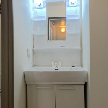 整髪剤や歯磨き粉など、朝の準備に欠かせない小物を置ける棚も設置されています。※写真は2階の同間取り別部屋のものです