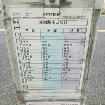 成瀬駅までのバスの時刻表です。本数は少なめですが、歩くよりかなり楽になります。
