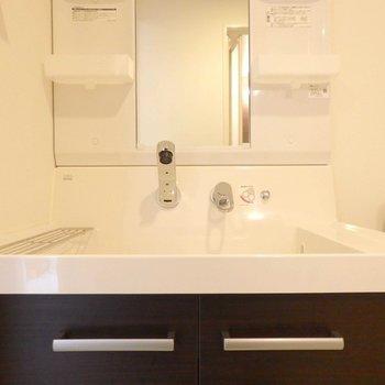 洗面台はなかなか見ないタイプ。(※写真は8階の同間取り別部屋のものです)