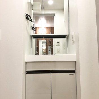 洗面台にも収納がたくさんできそうです。※写真は2階の同間取り別部屋のものです