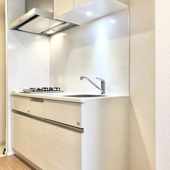 白いキッチンで素敵。隣に冷蔵庫も置けます。