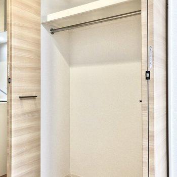 クローゼットは大きくて◎室内物干しをかけるフック付きです。