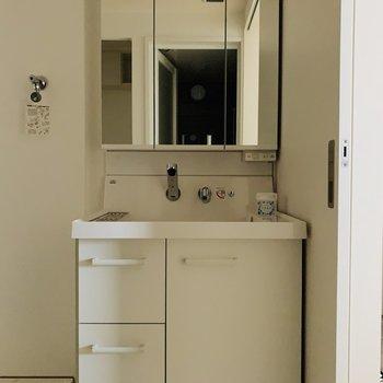 大きな鏡の裏はすべて収納という素敵な洗面所。(※写真は7階の同間取り別部屋のものです)