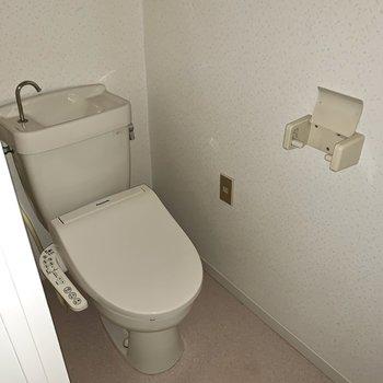 トイレは個室。天井が高めでしたよ。※写真はフラッシュを使用しています