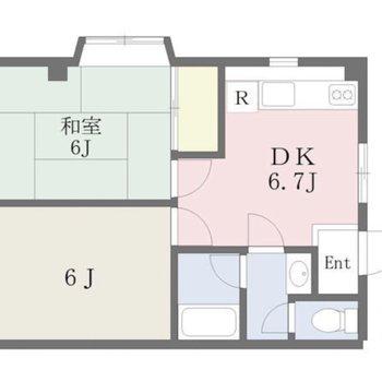 寝食スペースがしっかり分けられる2DK。