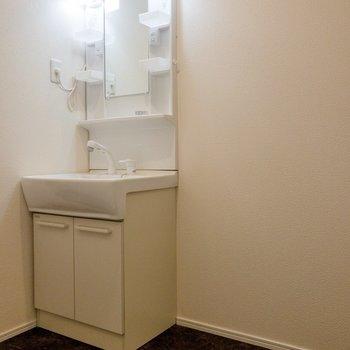 洗面台はコンセントも付いていて使い勝手が良さそう。※写真は1階の同間取り別部屋のものです