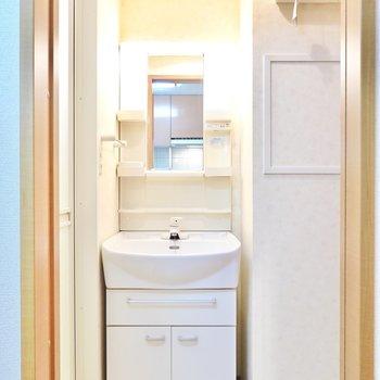 キッチンの背面のドアを開けると脱衣所。正面に棚付きの洗面台があります。