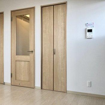 収納スペースはドアの両脇に。