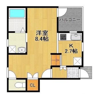 洋室はL字型。キッチンの下は床下収納です。