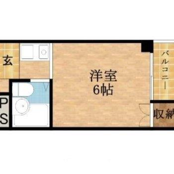 6帖の洋室があるワンルーム。