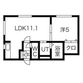 上が南東向きの間取り図。LDKは北東向きの窓付きです。