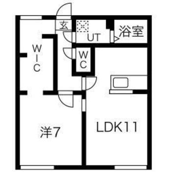 2人暮らし向けの1LDKのお部屋です。