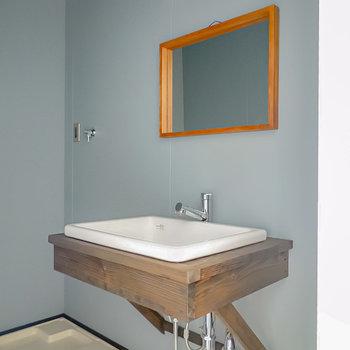 洗面台は壁掛けの鏡にシンクを合わせた、無駄を排したデザイン。