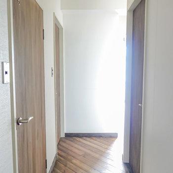 玄関側から見て左手がトイレと脱衣所、右手が洋室。