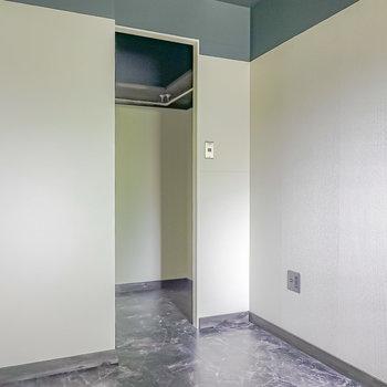 反対側を。廊下へのドアの横にはウォークインクローゼットが。