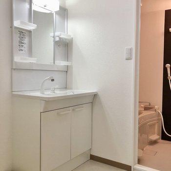 脱衣所には洗面台と洗濯機置き場がぎゅっとまとまっています。