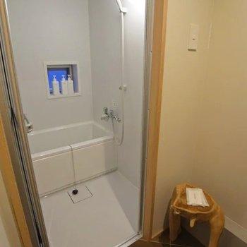 浴室はコンパクトでシンプル。
