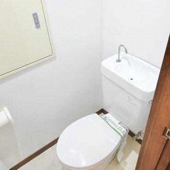 おトイレはお手洗い付き。ドアにはタオルバーもついているので洗面台代わりに。