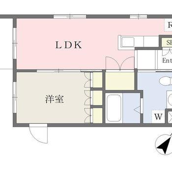 各部屋ゆったりスペースの1LDK