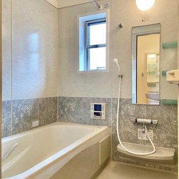 湯船が大きくて心も身体も休まりそう…浴室乾燥もついています。