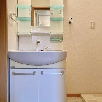 洗濯機と独立洗面台はサニタリーに。ゆったりとスペースがあります。