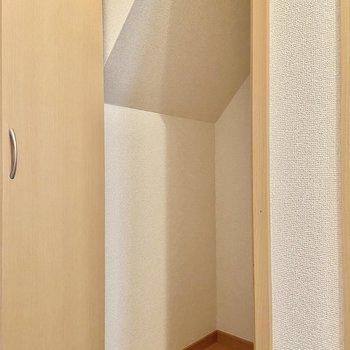 【LDK】こちらの収納は階段下のスペースを利用しているので斜めになっています。