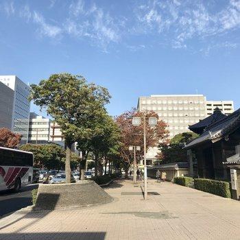 祇園駅の前。この街はお寺が多いんです♩