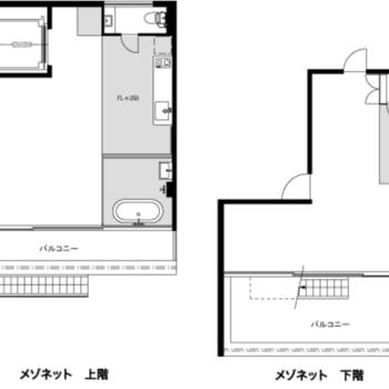 メゾネットタイプ、2フロアのお部屋。