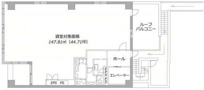 神楽坂 44.72坪 オフィス の間取り