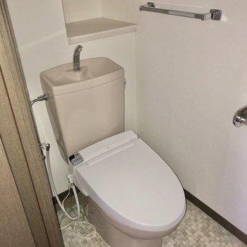 トイレは玄関手前にありました。※写真はフラッシュを使用しています