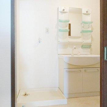 トイレの横に脱衣所。しっかりとした洗面台と洗濯機置場もここに。