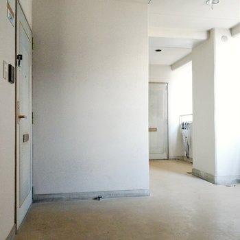 共用部も広々。ワンフロアに2部屋のみです。エレベーターに近い方のお部屋。