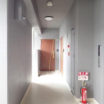 共用部】グレーな廊下。