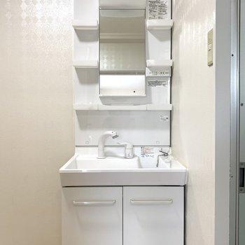 もともとの洗面台がきれいなので既存残しです。使いやすいタイプ!