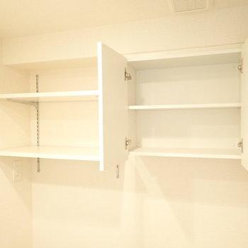 上には洗剤置き場や、ペーパー置き場が…!ありがたい。