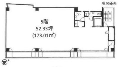 渋谷 52.33坪 オフィス の間取り