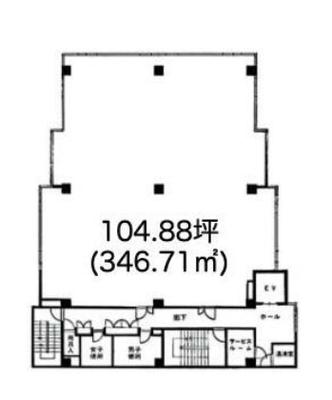 品川シーサイド 104.87坪 オフィス の間取り