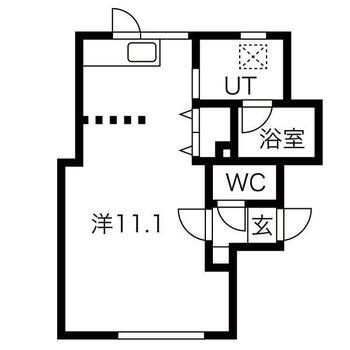 11.1帖の1Kのお部屋!キッチンスペースとの区切りは可動式です〜