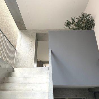 そして2階の踊り場が、まるで美術館のよう。