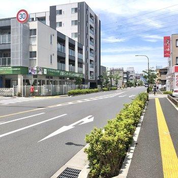 駅からお部屋までの道のりは、ゆったりとした道幅の平坦な道です。