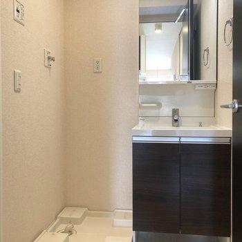 鏡が大きく、スタイリッシュな洗面台です。