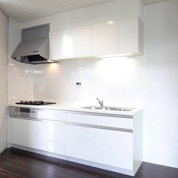 LDKの隅には黒い床とのコントラストが映える真っ白なシステムキッチン。