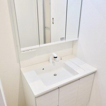洗面台は鏡が大きく、ボウルも広いので忙しい朝が快適になりそうですね。