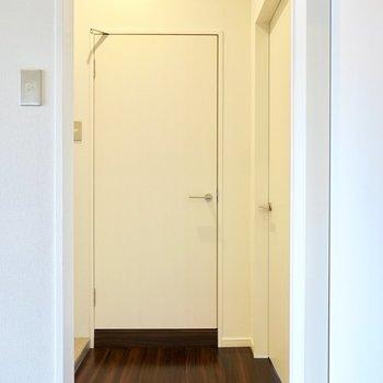 角を右手に向くと右手にもうひとつ洋室、正面に脱衣所のドア。