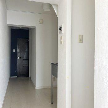 廊下は長いです。手前はシャワールームなのでカーテンつけたい!(※写真は清掃前です)